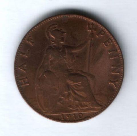 1/2 пенни 1910 года Великобритания XF-