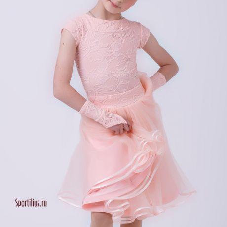 платье с двойной пышной юбкой для бальных танцев