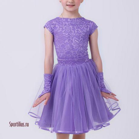 Платье с двумя пышными юбками для выступления сиреневое