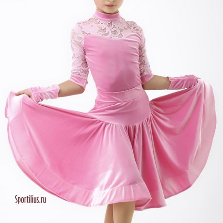 платье для танцев розовое Пудра
