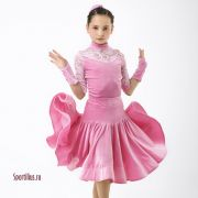 платье для спортивных танцев розовое