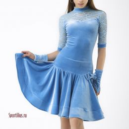 """Платье для бальных танцев """"Пудра Blue"""""""