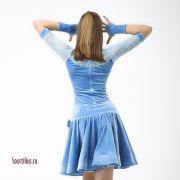 небесно голубое платье для спортивных бальных танцев