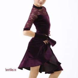 Бархатное платье для танцев, цвет бургунди