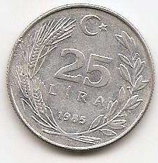 25 лир (Регулярный выпуск) Турция 1985