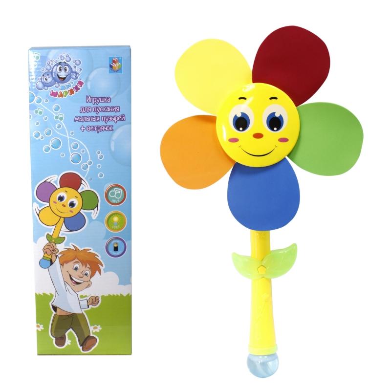 Купить Мыльные пузыри и ветрячок  со светом и звуком 1TOY Мы-шарики!  недорого с доставкой