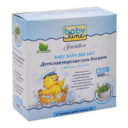 BABYLINE SENSITIVE Морская соль с целебными травами 1000гр. (4*250гр.) фильтр-пакет