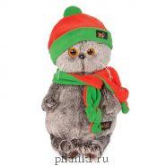 Басик в оранжево-зеленой шапке и шарфике 25 см