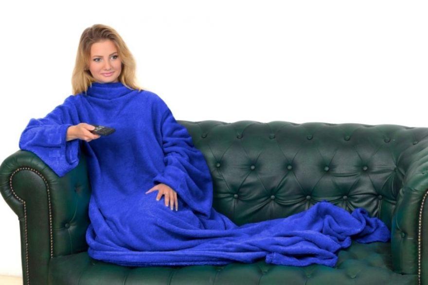 Одеяло-плед с рукавами Snuggle (Цвет: Синий)