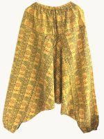 Желтые афгани алладины с мотней, Москва. Индийские штаны из натурального хлопка
