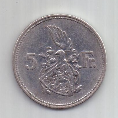 5 франков 1929 года Люксенбург