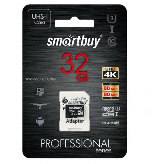 Карта памяти microSD 32 Gb SmartBuy class 10 PRO UHS-I(U3) R/W:90/80 MB/s (с адаптером SD)