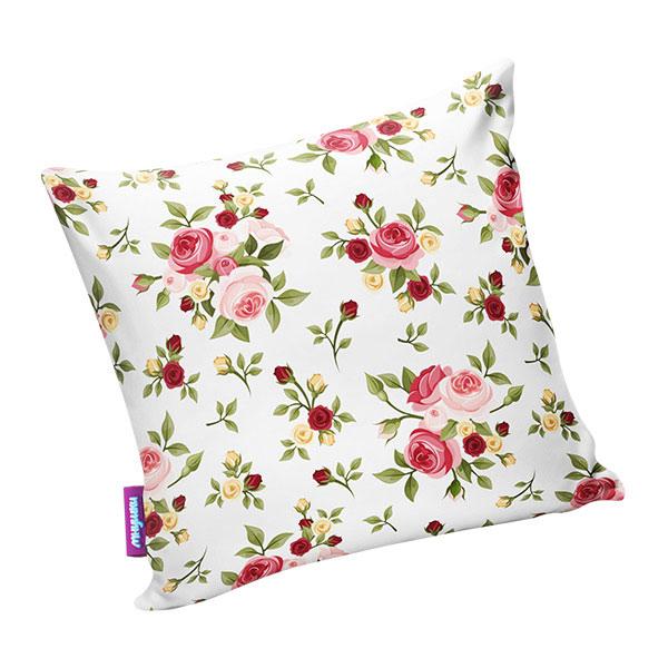 Подушка игрушка Нежные цветы белая