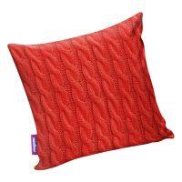 Подушка игрушка Вязаные косички красная