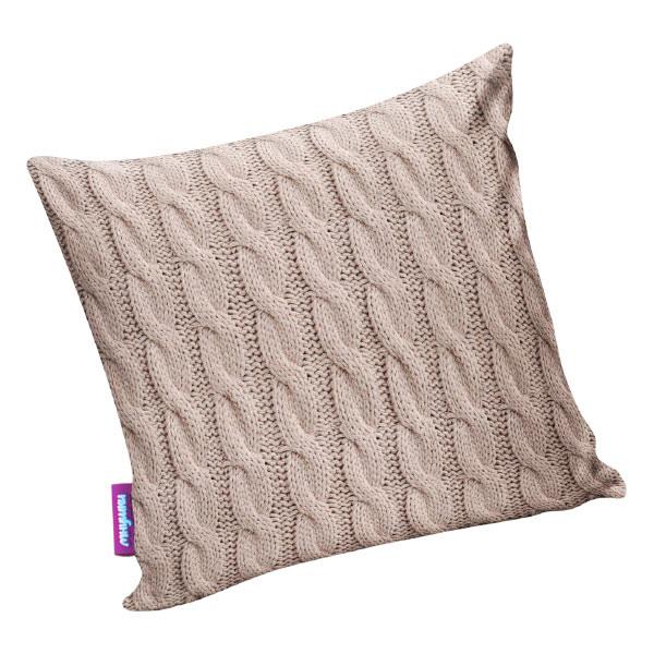 Подушка игрушка Вязаные косички бежевая