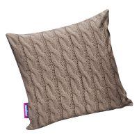 Подушка игрушка Вязаные косички коричневая