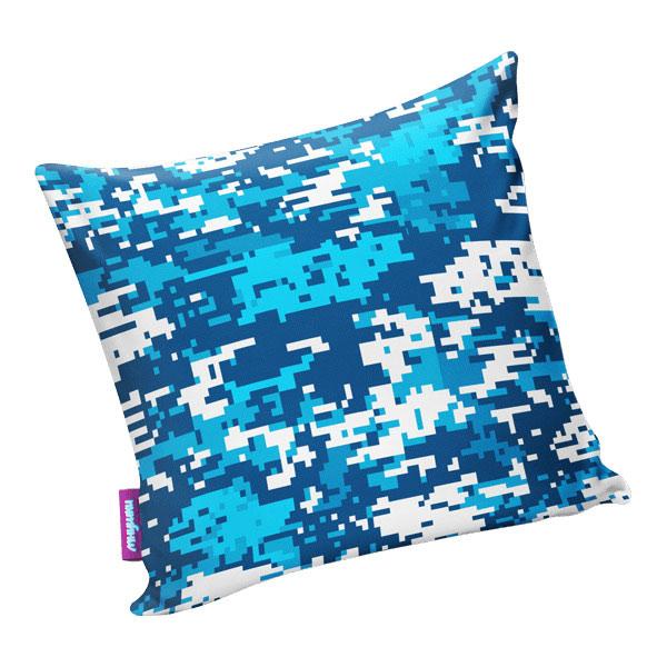 Подушка игрушка Камуфляж цифра макси голубая