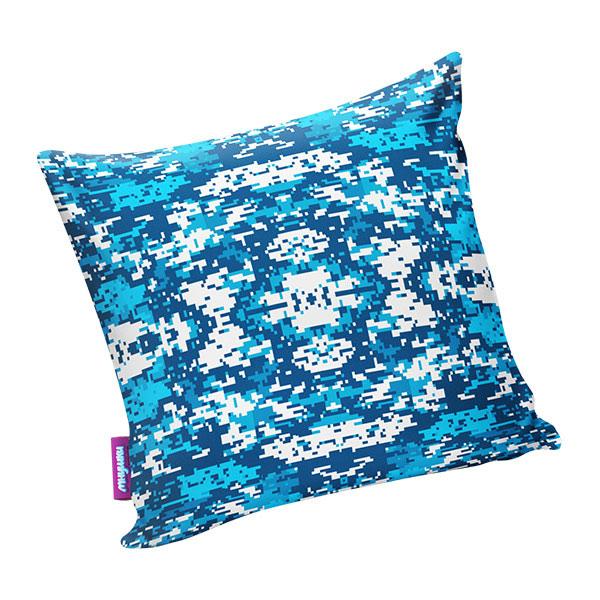 Подушка игрушка Камуфляж цифра голубая