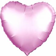 """Сердце, розовый, сатин, 18""""/ 46 см, Россия"""
