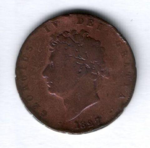 1/2 пенни 1827 года Великобритания