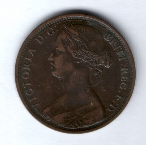 1 пенни 1863 года Великобритания XF-