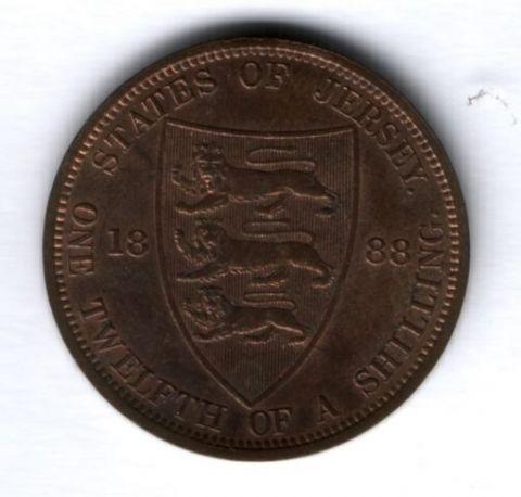 1/12 шиллинга 1888 года Джерси AUNC