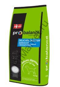 ProBalance Delicate Digestion корм сухой для взрослых собак всех пород лосось-рис 15кг