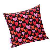 Подушка игрушка Сердечки черная
