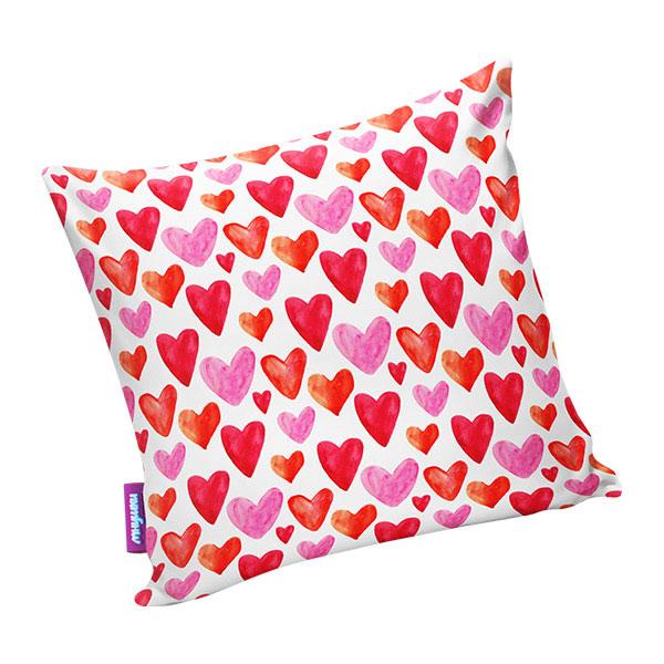 Подушка игрушка Сердечки белая