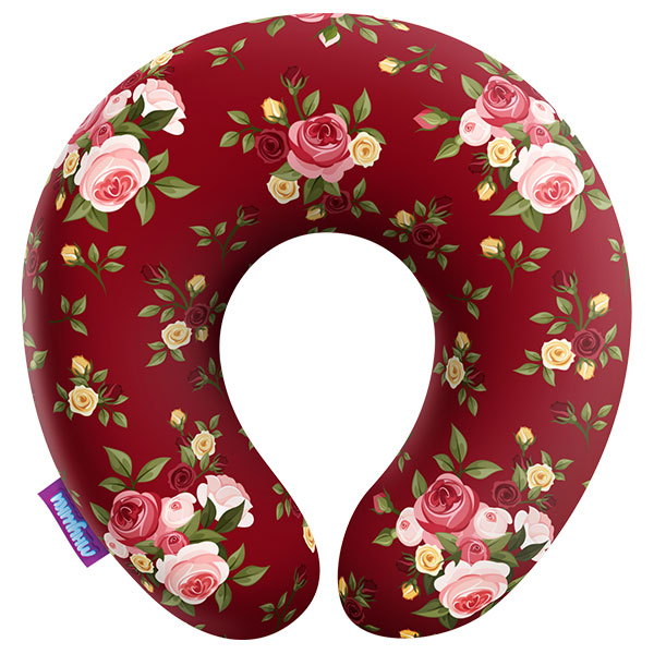Подушка под шею Нежные цветы, красная