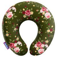 Подушка под шею Нежные цветы, зеленая