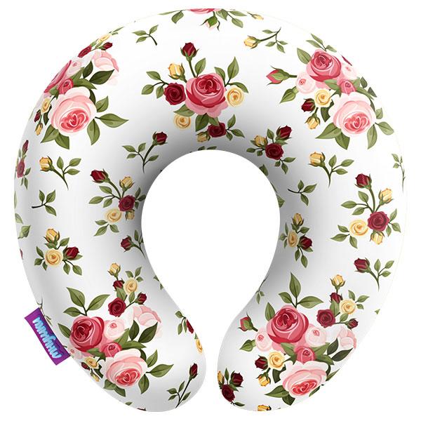 Подушка под шею Нежные цветы, белая