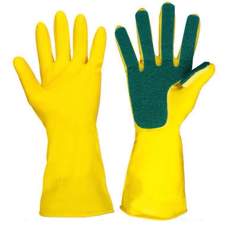 Перчатки с губкой для мытья посуды