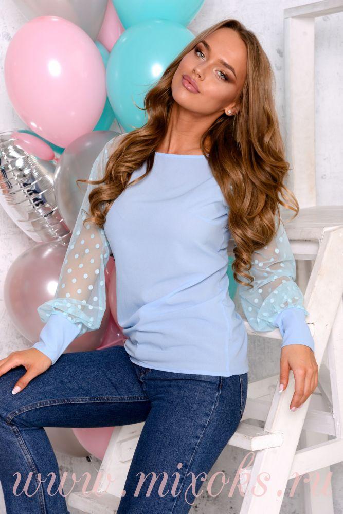 Блузка голубая в горошек