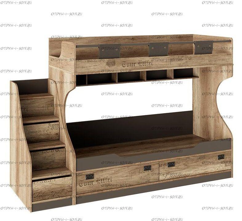 Кровать двухъярусная Пилигрим СМ-276.11.01 с лестницей комодом