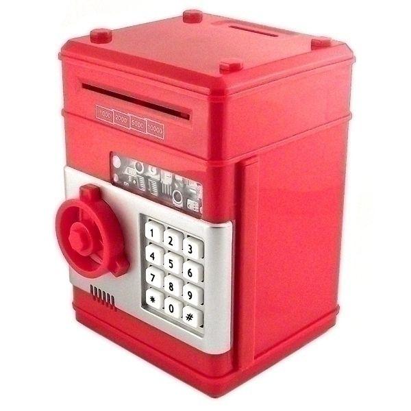 Копилка сейф пластиковая большая Красная