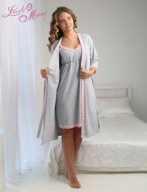 Комплект для беременных Grace серый меланж с розовой отделкой ™Viva Mama