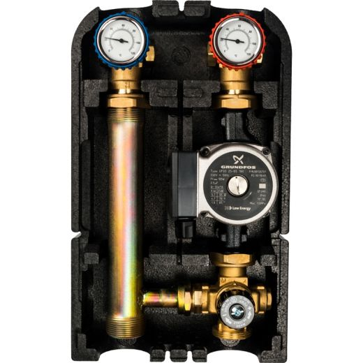 """Насосная группас термостатическим смесительным клапаном1""""с насосом Grundfos UPSO 25-65"""