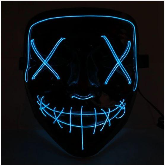 Неоновая маска Судная ночь, цвет синий