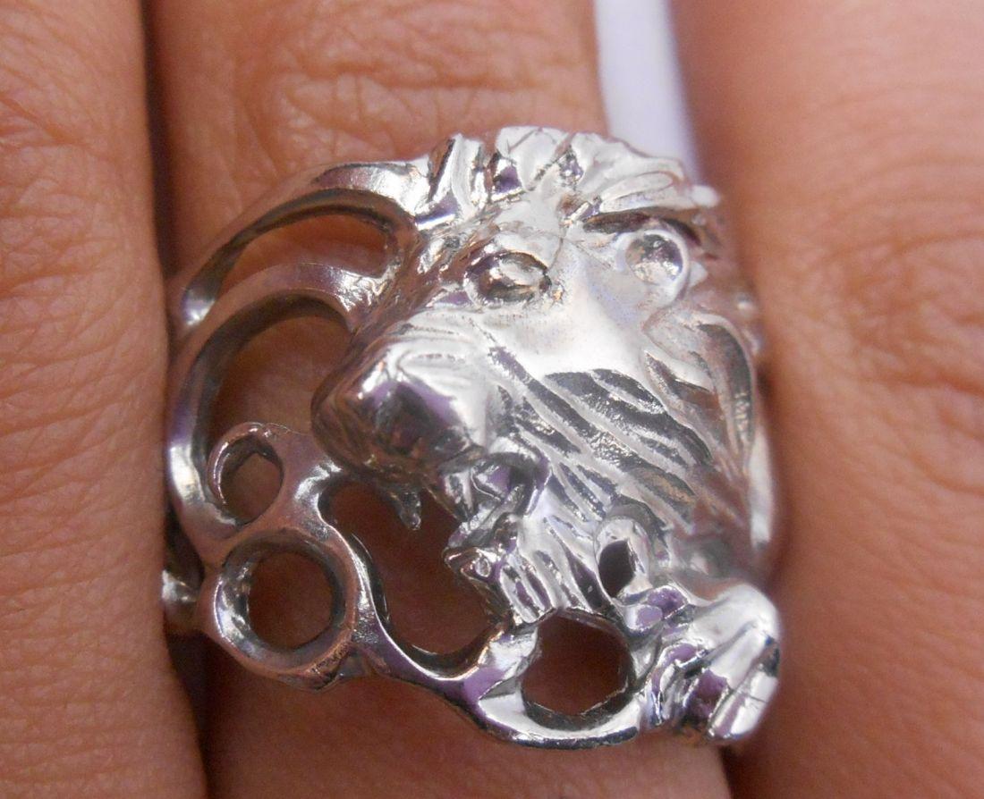 """Кольцо  """"Лев"""" латунь и покрытие под серебро"""