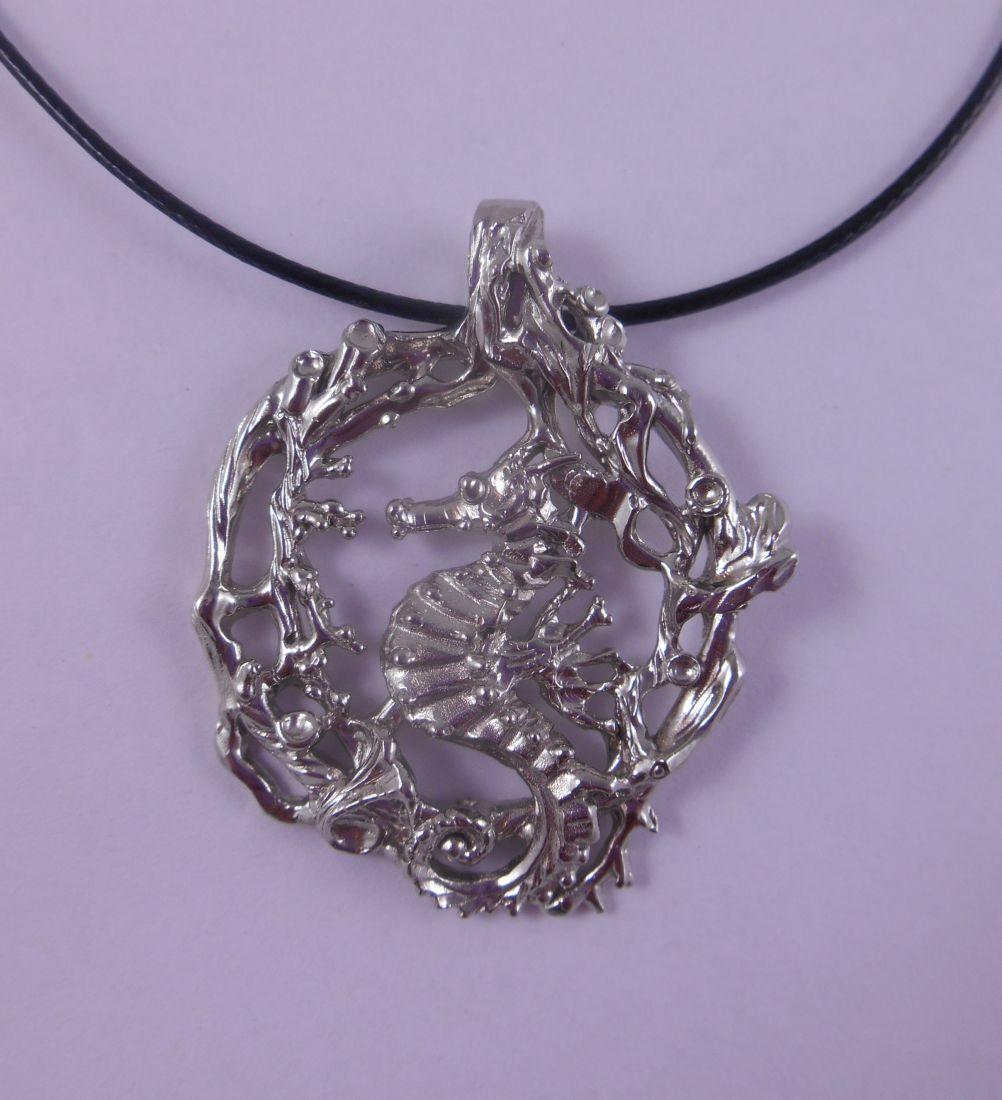 Кулон Морской конёк плывущий из латунь и покрытие под серебро