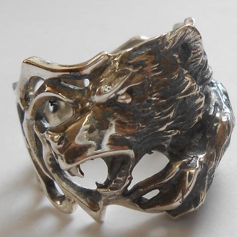 """Кольцо  """"Медведь"""" латунь и покрытие под серебро"""