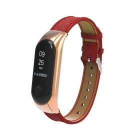 Браслет для Xiaomi Mi Band 3 (кожа) красный