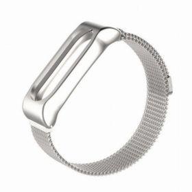 Плетеный ремешок для Xiaomi Mi Band 3 (металл) серебро