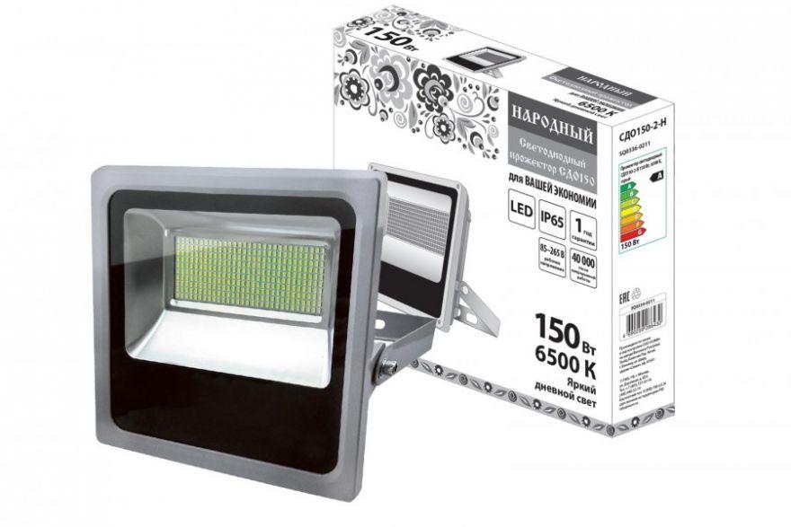 TDM прожектор св/д СДО150-2-Н 150W(11000lm) 6500K 230V Народный IP65 серый 360х330х80мм SQ0336-0211