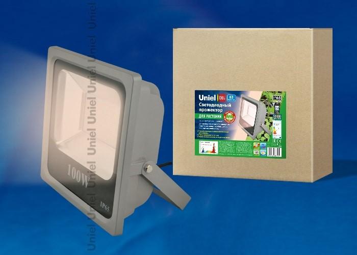 Uniel прожектор св/д для растений (фотосинтез) 100W (120°) алюм. 305x100x300 ULF-P40-100W/SPFR IP65