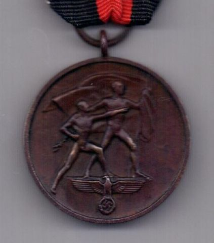 медаль 1938 года Присоединение Судетской области к Германии