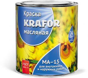 """КРАСКА МА-15 ЖЕЛТАЯ  0,9 КГ (14) """"KRAFOR"""""""