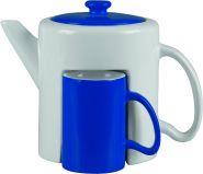Набор: чайник, 2 чашки «Триптих», белый/синий (арт. 823202)