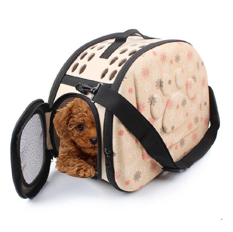 Складная сумка-переноска в цветочек для животных до 6 кг, цвет бежевый